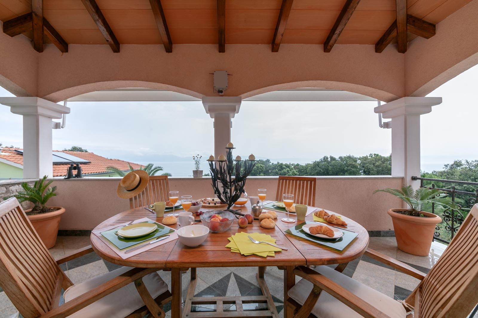 Terrace with beautiful overlooking the sea and islands